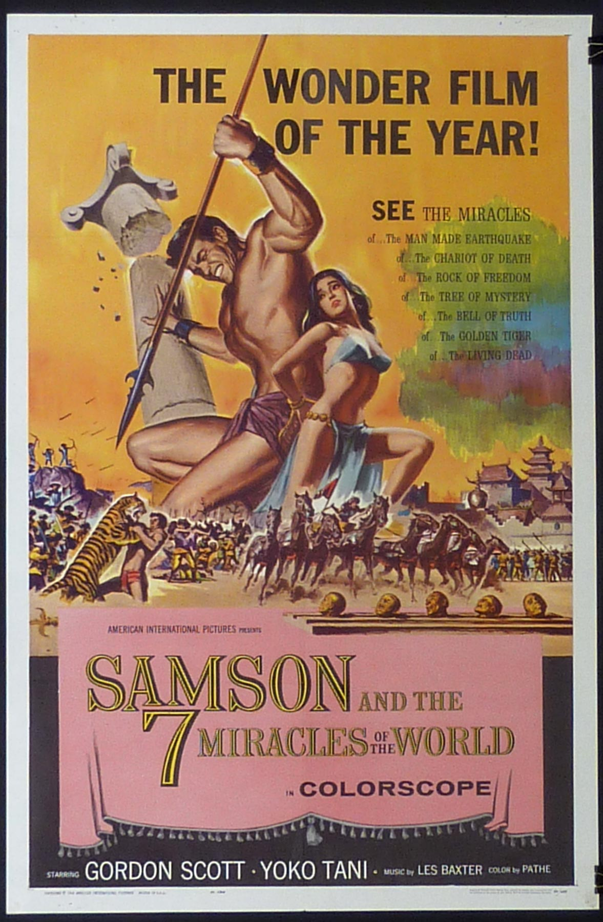 SAMSON AND THE 7 MIRACLES ORIGINAL LOBBY CARD GORDON SCOTT GABRIELE ANTONINI