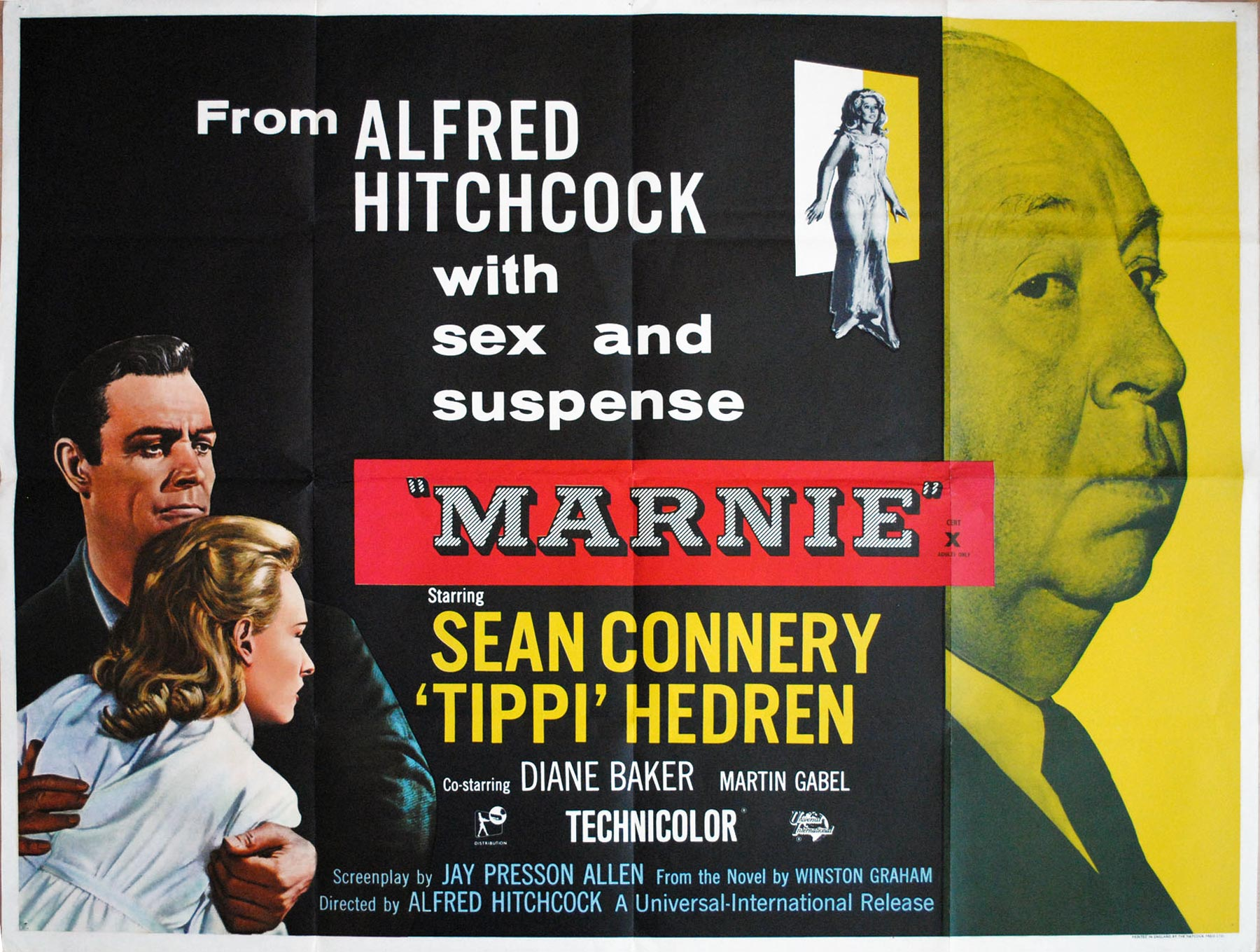 Hitchcock's MARNIE UK Quad poster   Picture Palace Movie Posters