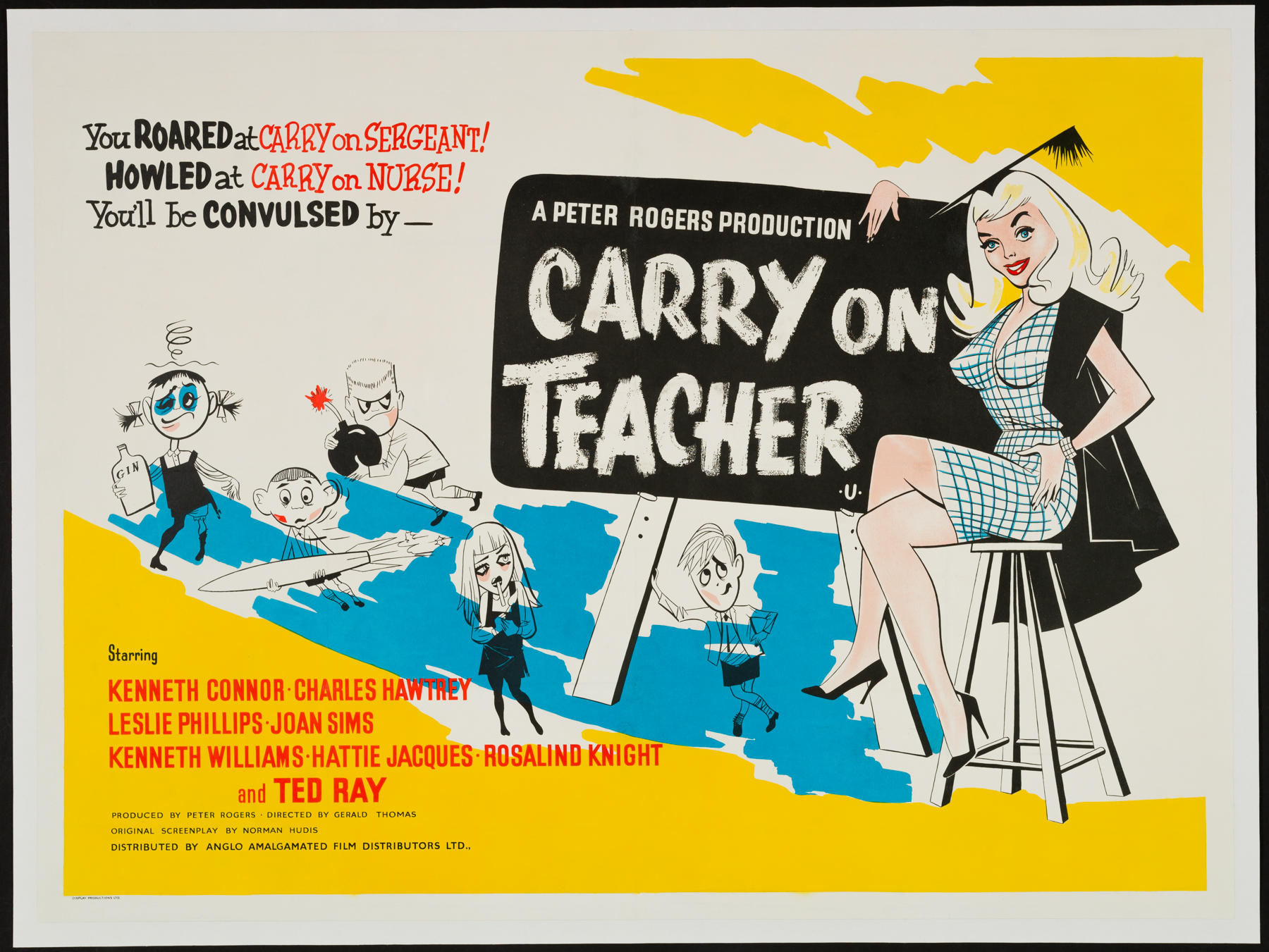 CARRY ON TEACHER Original UK Quad poster | Picture Palace Movie ...
