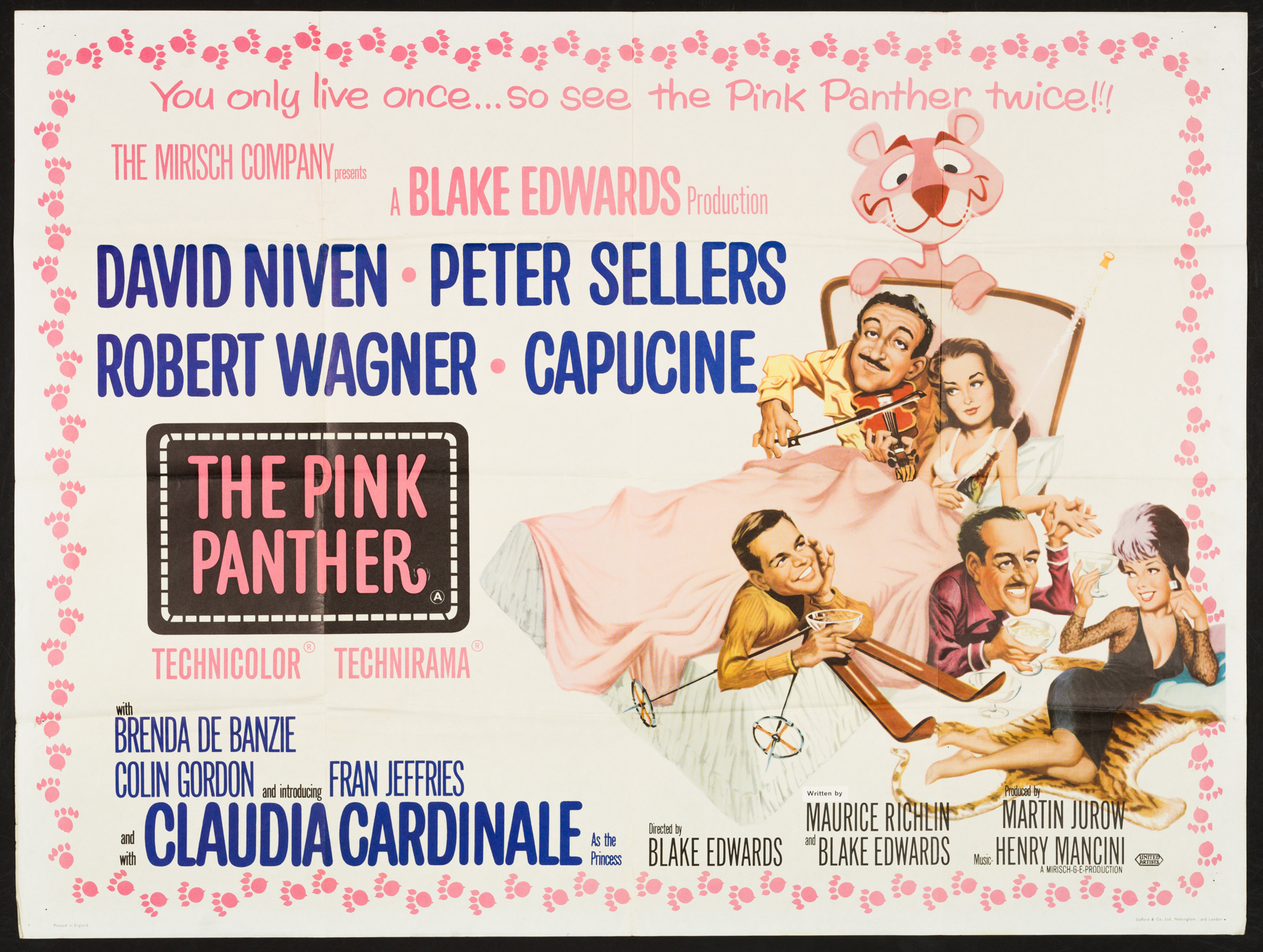 THE PINK PANTHER (1963) Original Vintage UK Quad Poster   Picture Palace  Movie Posters