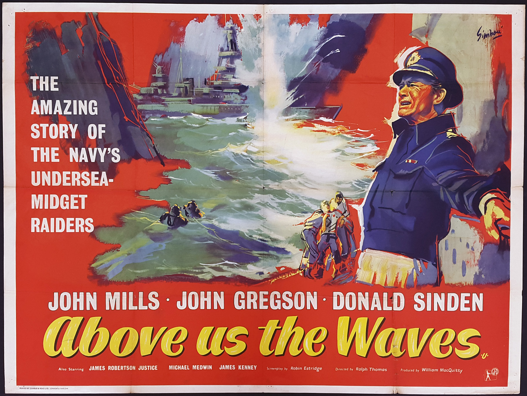 ABOVE US THE WAVES (1955) Original UK Quad Film Poster | Picture ...
