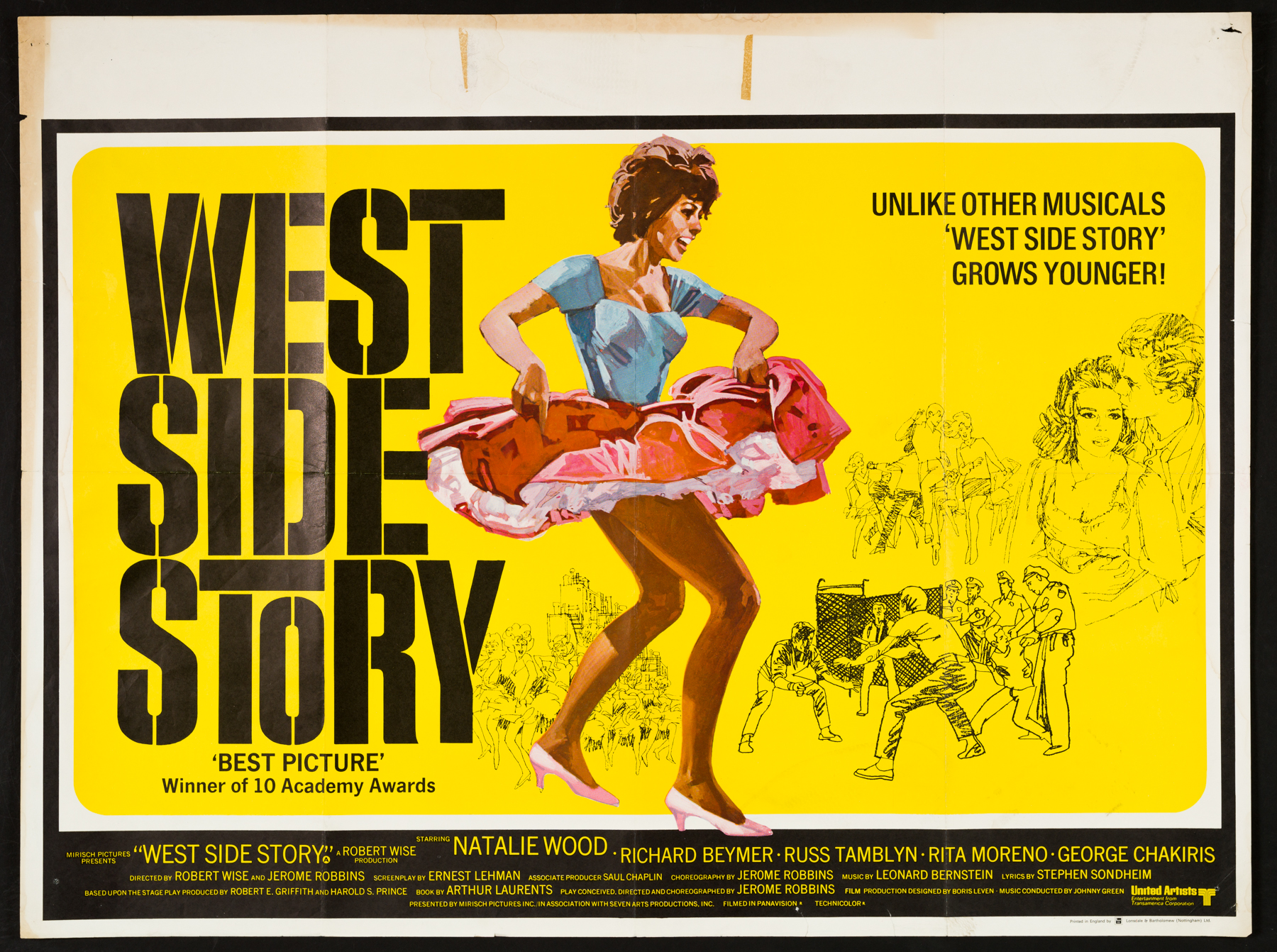 WEST SIDE STORY (1961) Original Vintage Re-release UK Quad ...