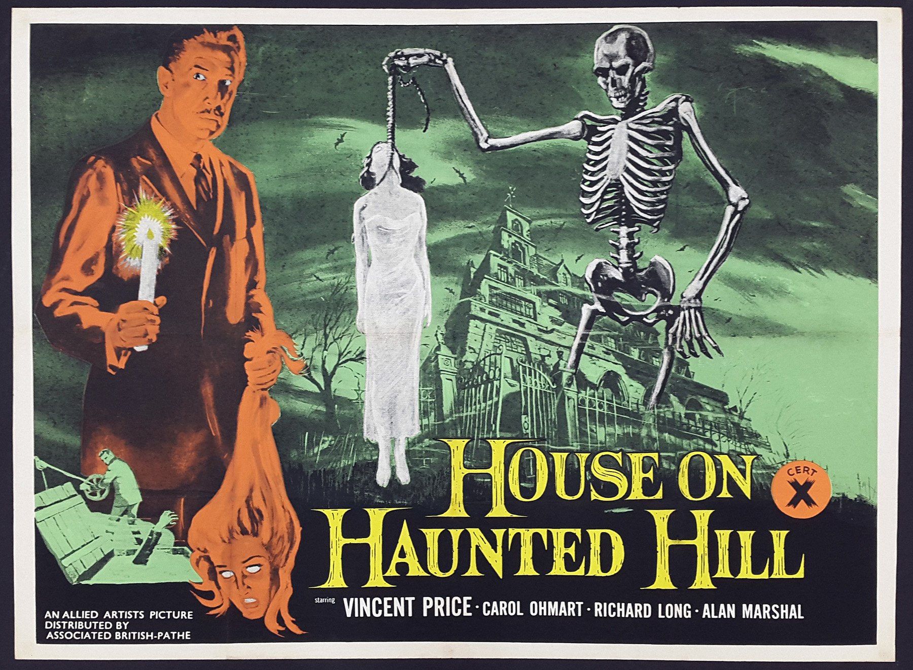 THE HOUSE ON HAUNTED HILL (1959) Original Vintage UK Quad Film ...