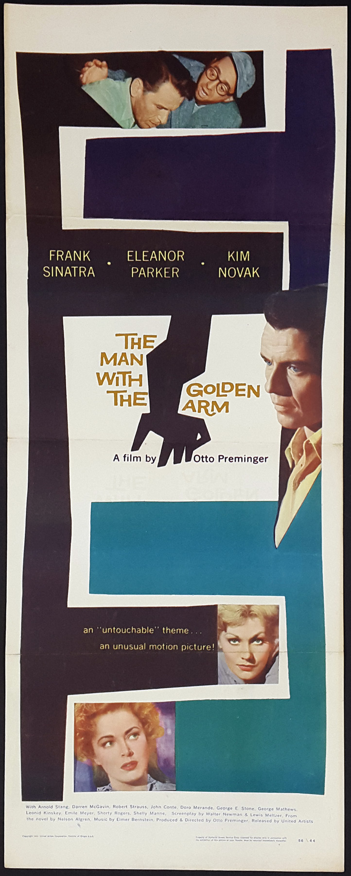 The man WITH THE GOLDEN ARM Movie Poster FRANK SINATRA USA 1955 24X36 Drama