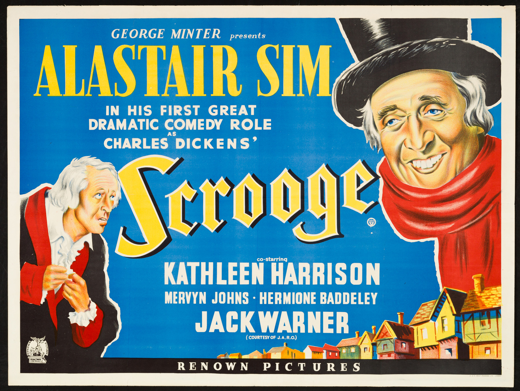 scrooge 1951 original vintage uk quad film poster