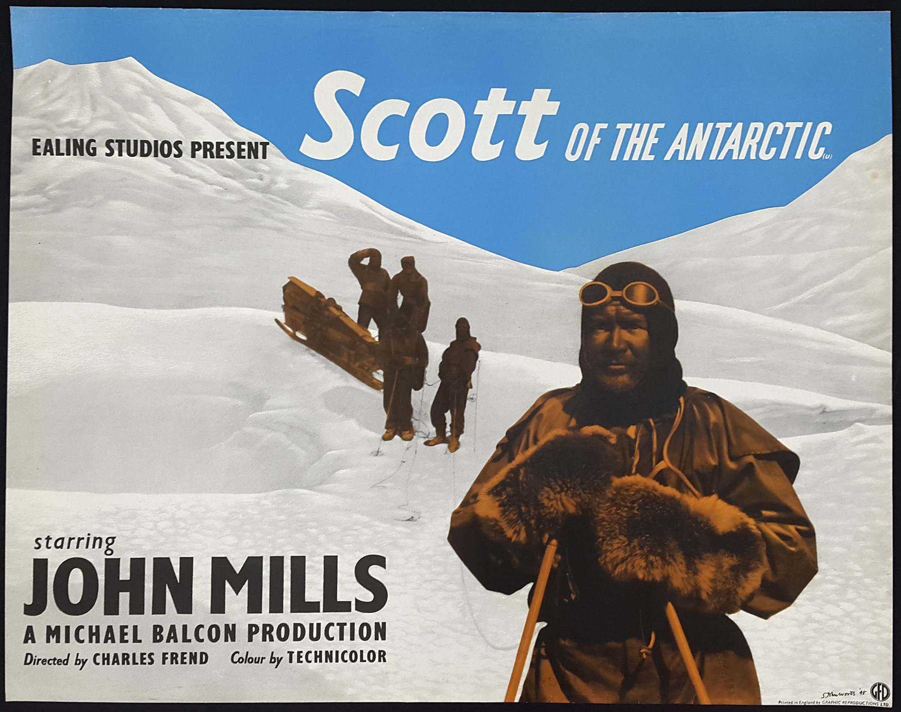 SCOTT OF THE ANTARCTIC (1948) Ealing Film Classic Original UK Half Sheet  Poster   Picture Palace Movie Posters