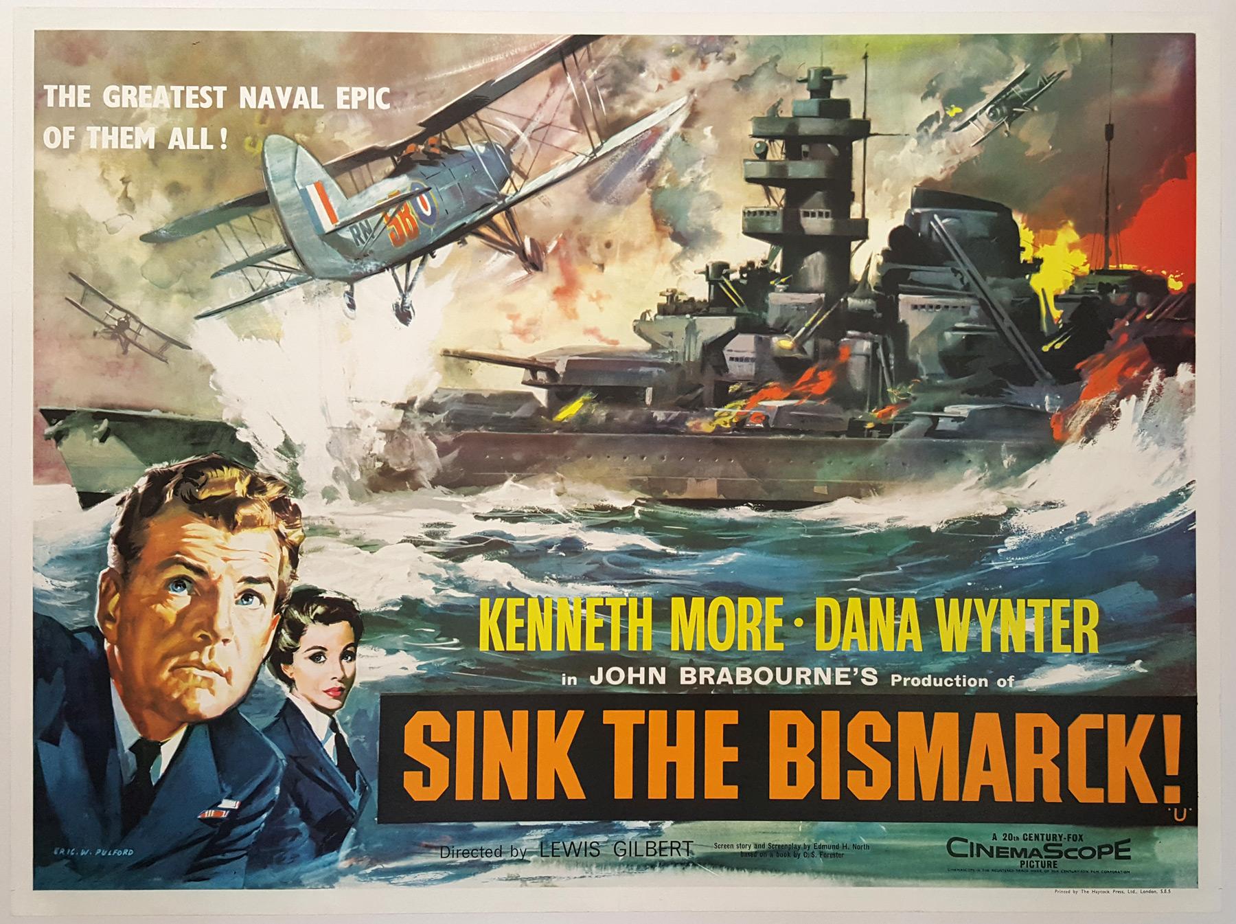 SINK THE BISMARCK! (1960) Original Vintage UK Quad Film Poster ...