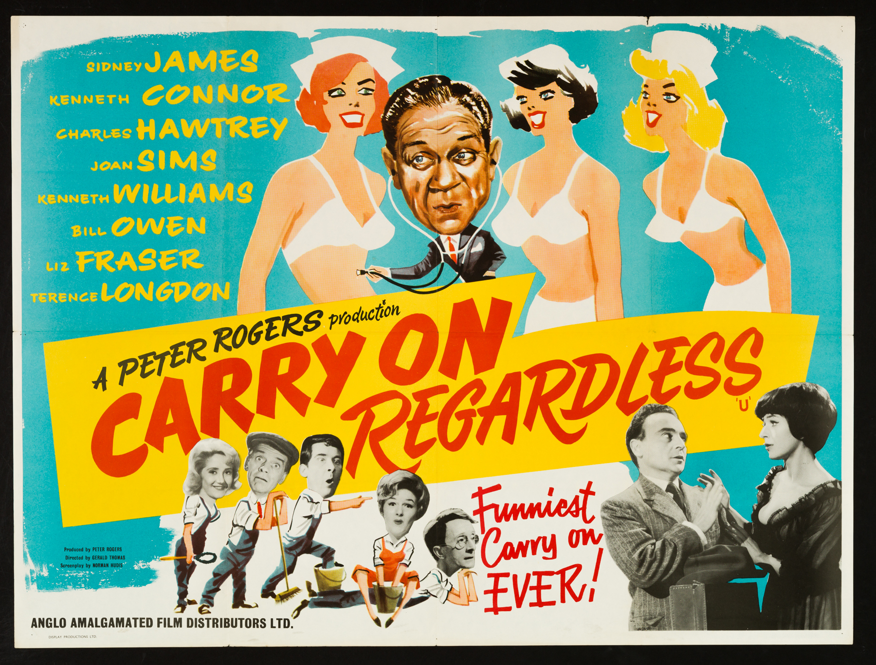 CARRY ON REGARDLESS (1961) Original Vintage UK Quad Film Poster ...