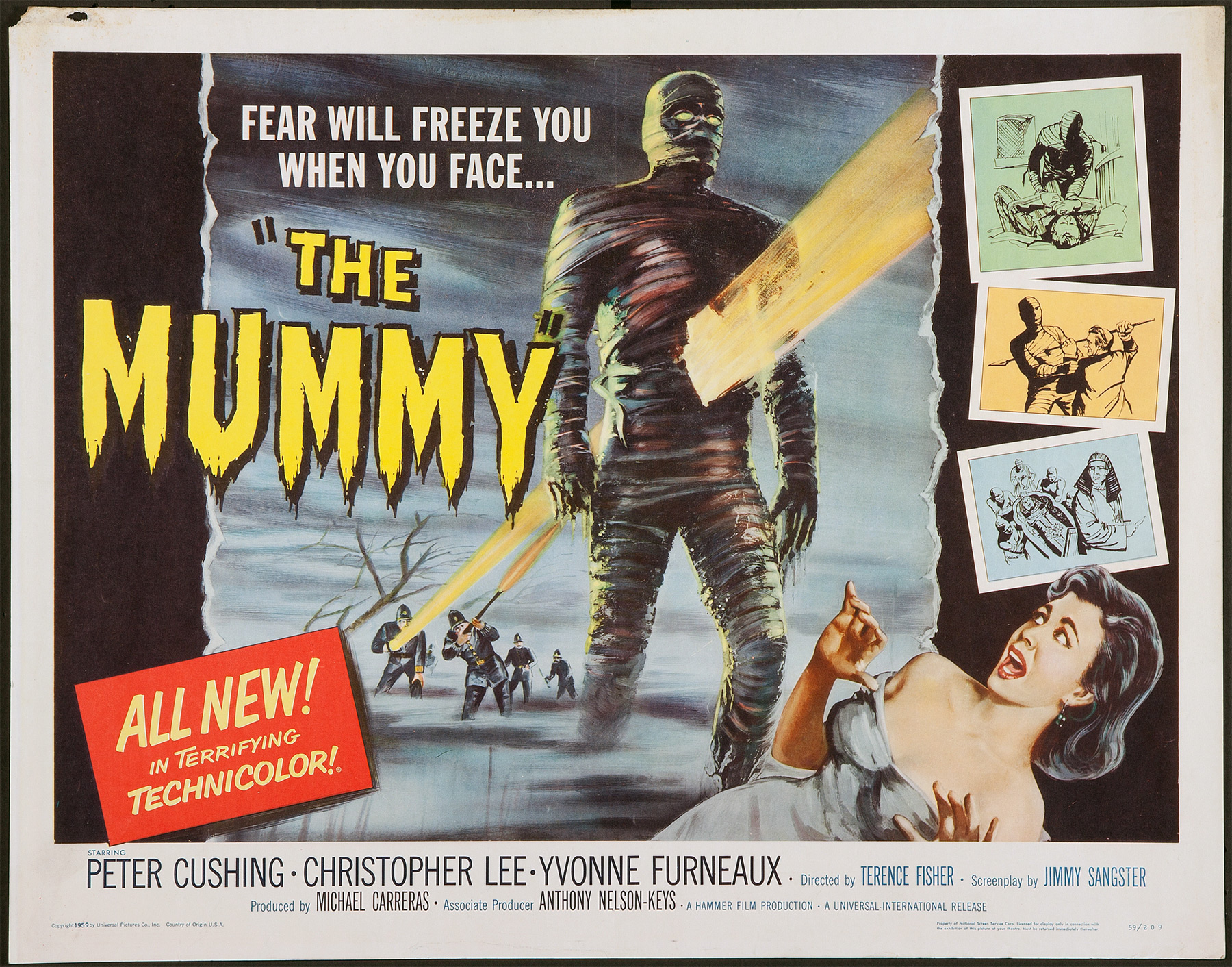 THE MUMMY (1959) Original Hammer Horror US Half Sheet Film Movie ...
