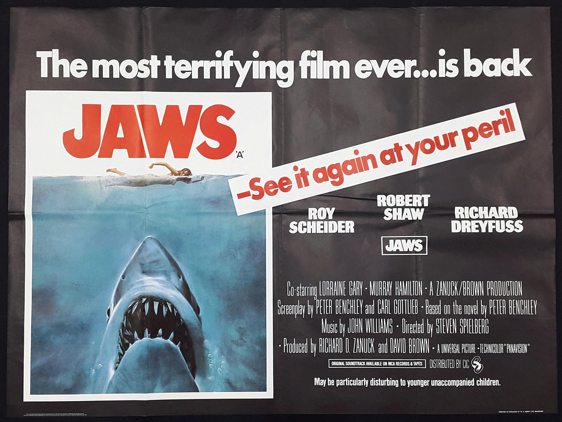 JAWS (1975) Original Vintage UK Quad Film Movie Poster | Picture ...