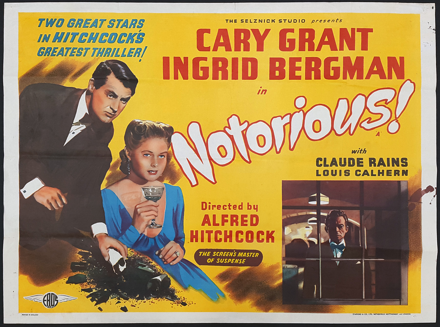 NOTORIOUS! (1946) Original Vintage Alfred Hitchcock Film Noir UK ...