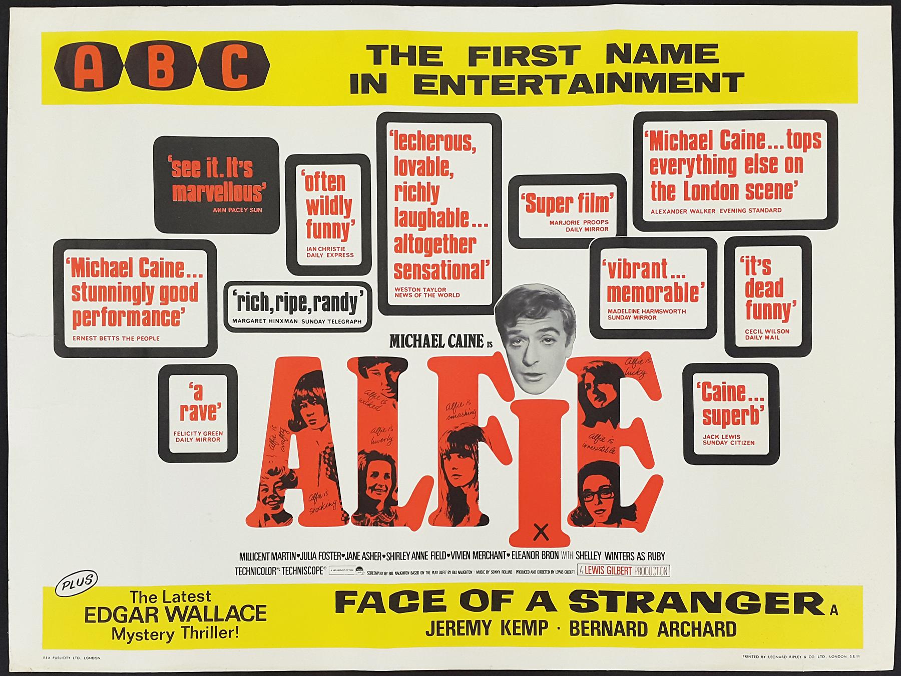 ALFIE (1966) Original Vintage Michael Caine UK Quad Film Movie ...