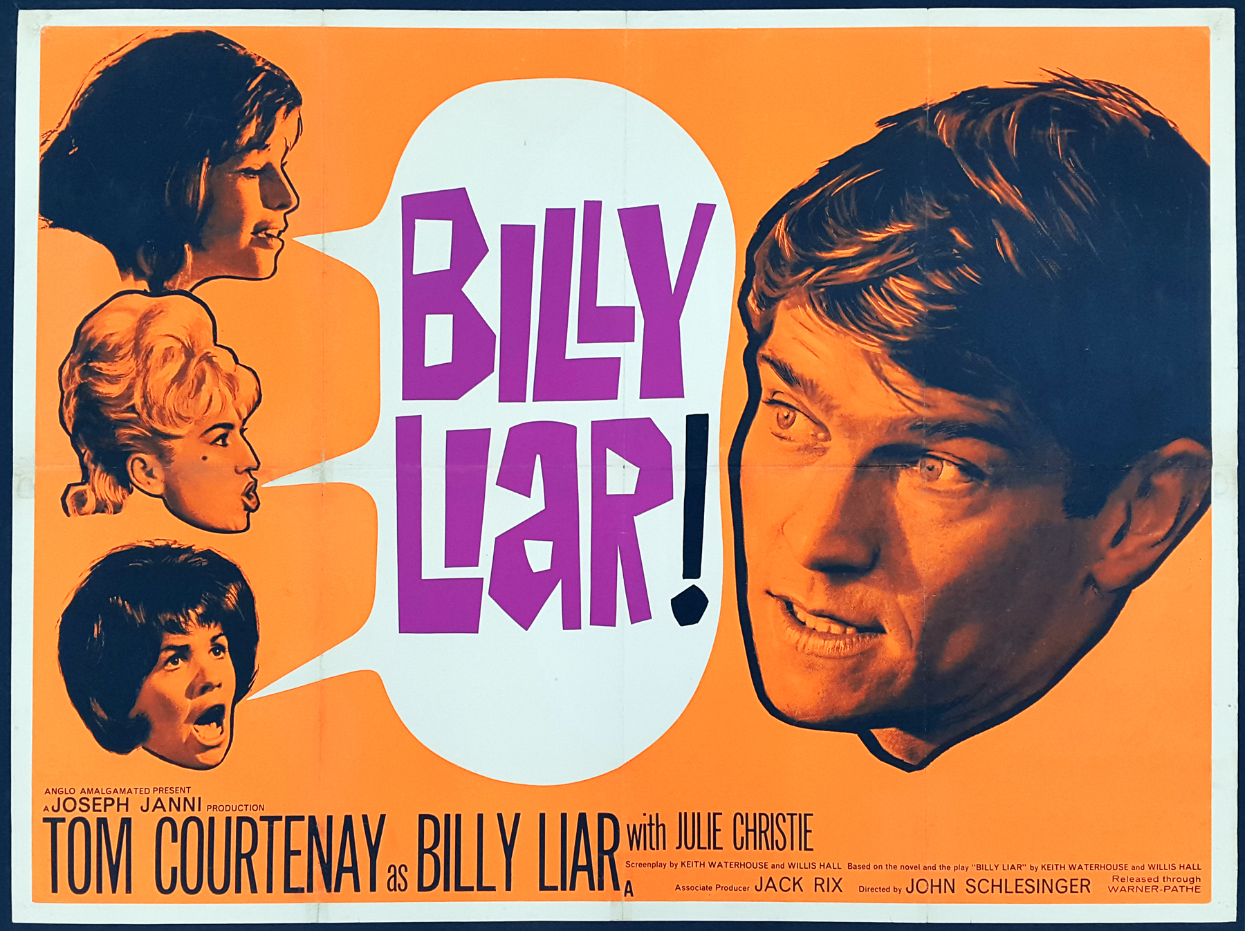 BILLY LIAR! (1963) Original Vintage New Wave UK Quad Film Movie ...