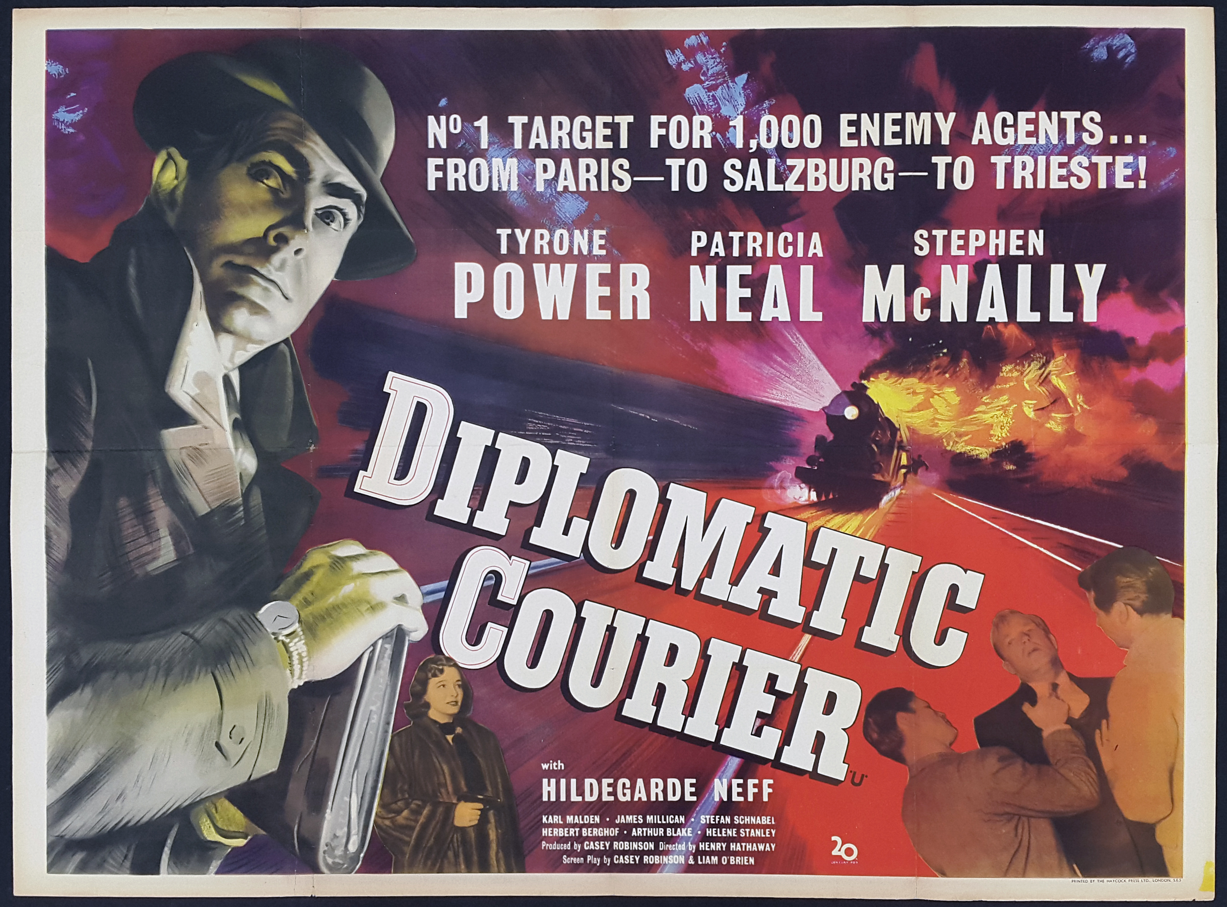 DIPLOMATIC COURIER (1952) Original Vintage UK Quad Film Movie Poster