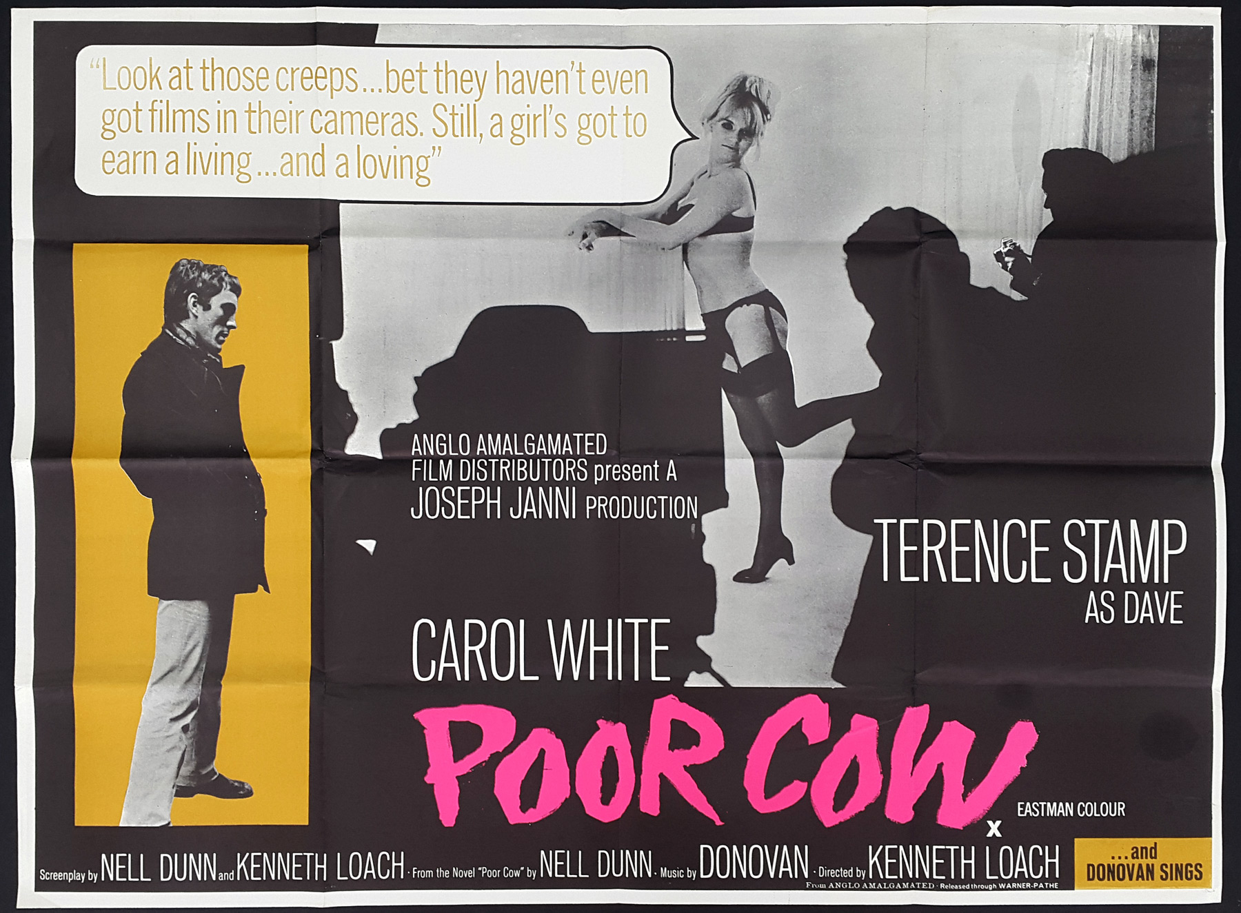 POOR COW (1967) Original Vintage Ken Loach UK Quad Movie Film ...
