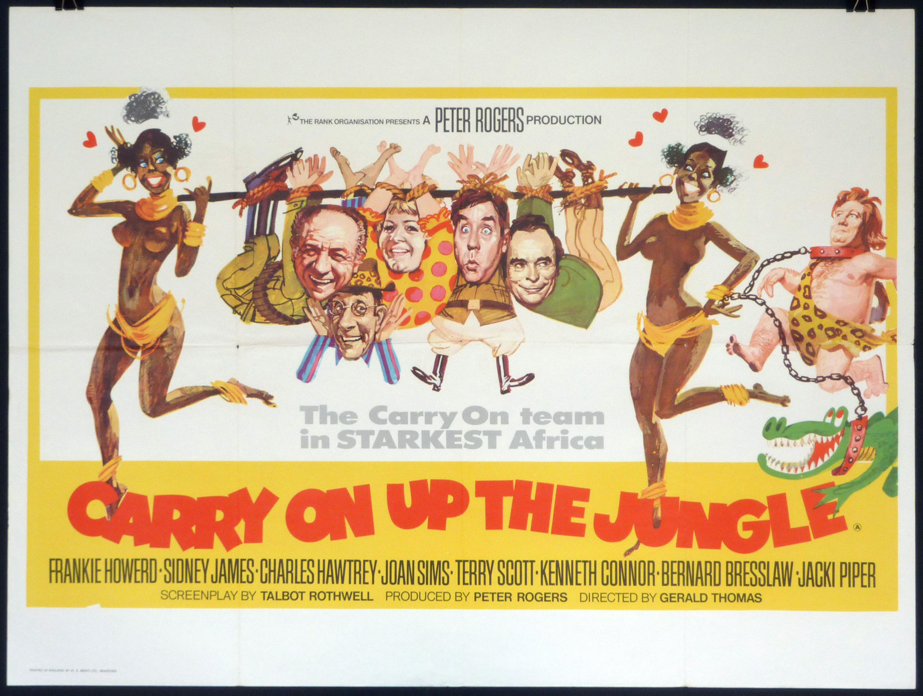 CARRY ON... UP THE JUNGLE (1970) Original Vintage UK Quad Film ...