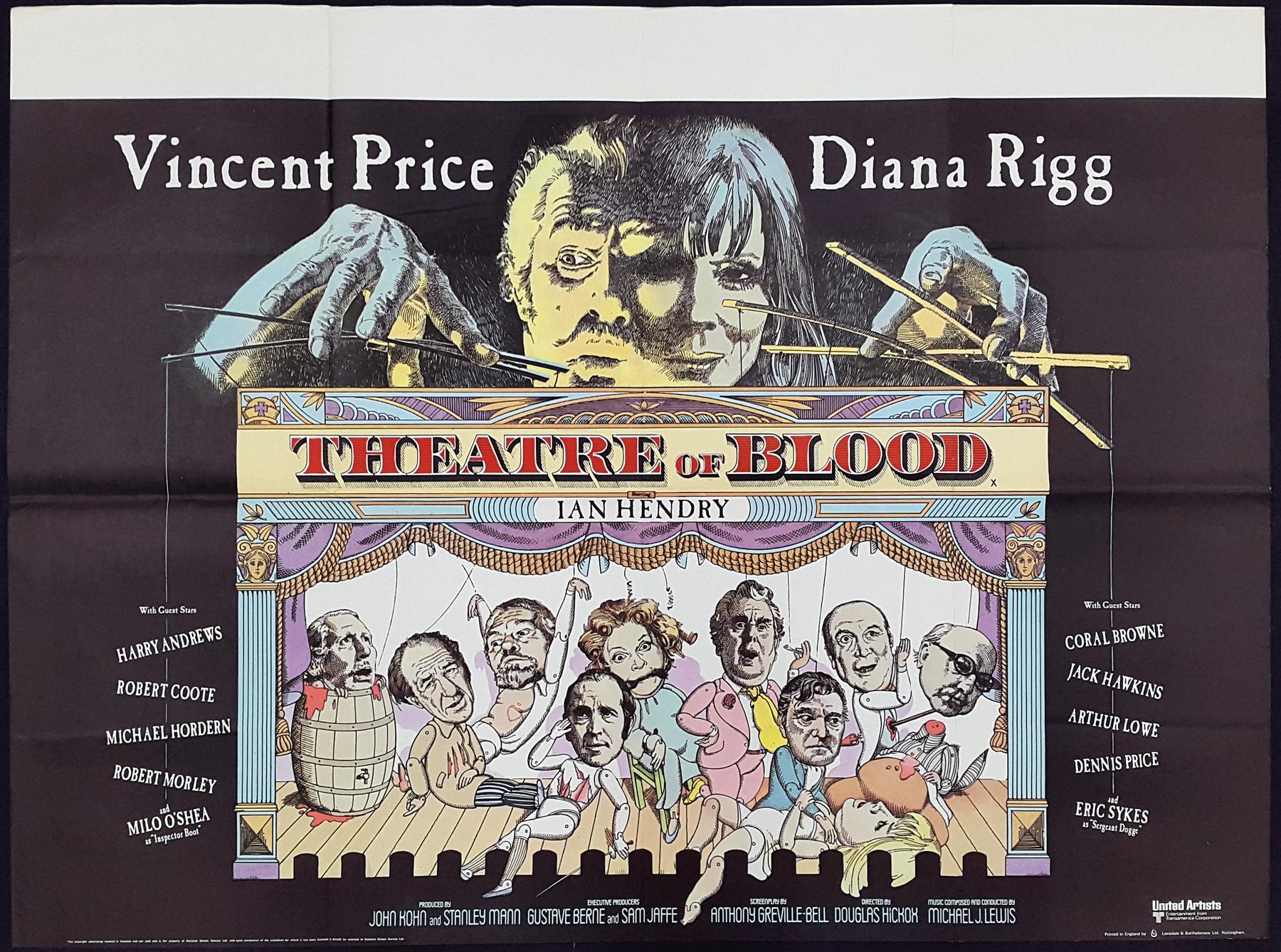 THEATRE OF BLOOD (1973) Original Vintage Vincent Price UK Quad Film Movie  Poster | Picture Palace Movie Posters