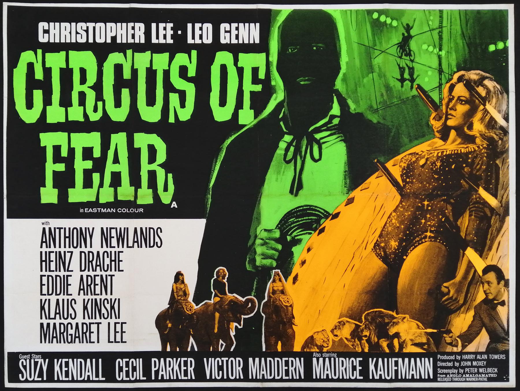 CIRCUS OF FEAR (1966) Original Vintage Christopher Lee UK Quad ...