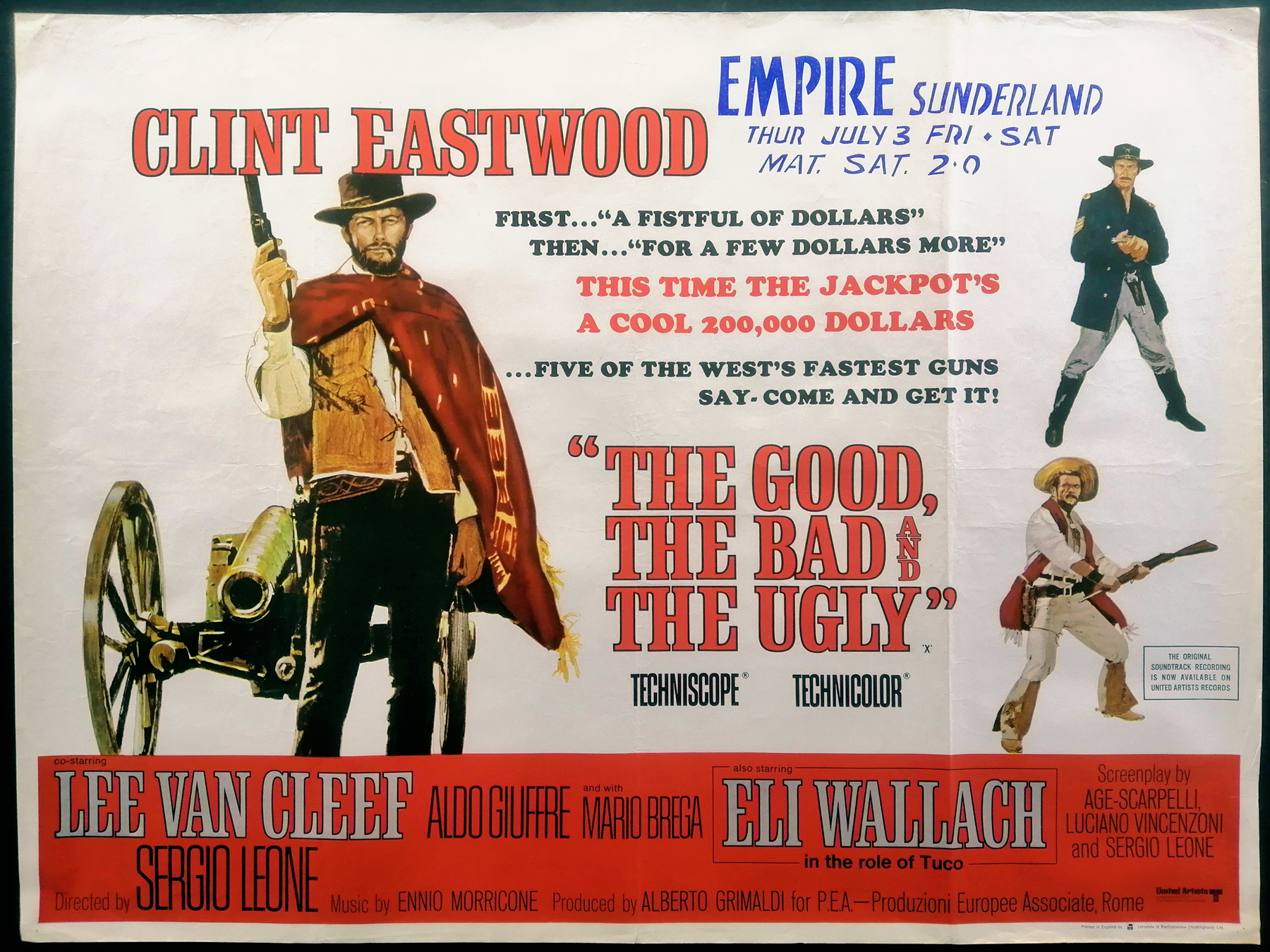 THE GOOD, THE BAD AND THE UGLY (1966) Original Vintage Spaghetti Western UK  Quad Film Movie Poster | Picture Palace Movie Posters